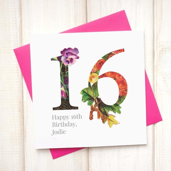 16de Verjaardag.16de Verjaardag Card Verjaardagskaart Voor Haar Floral Verjaardagskaart Botanische Groeten Card Meisjes Verjaardagskaart Mijlpaal Verjaardag