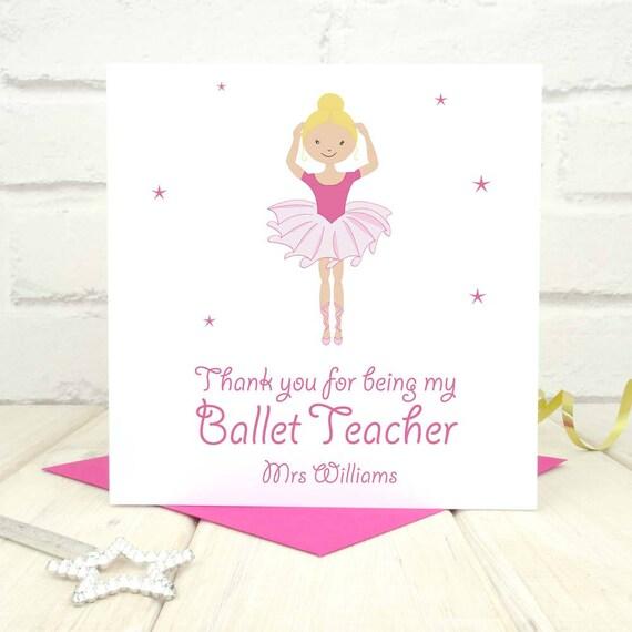Grazie Balletto Insegnante Card Carta Personalizzati Carta Etsy