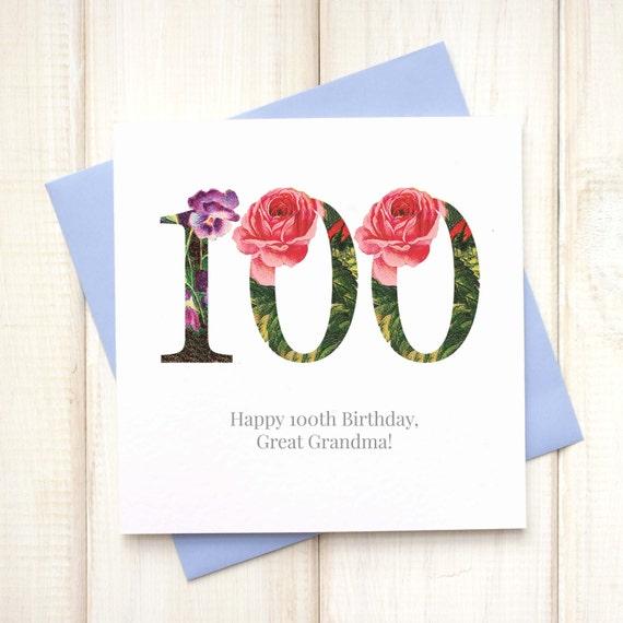 100ste Verjaardag Card Verjaardagskaart Voor Haar Floral Etsy