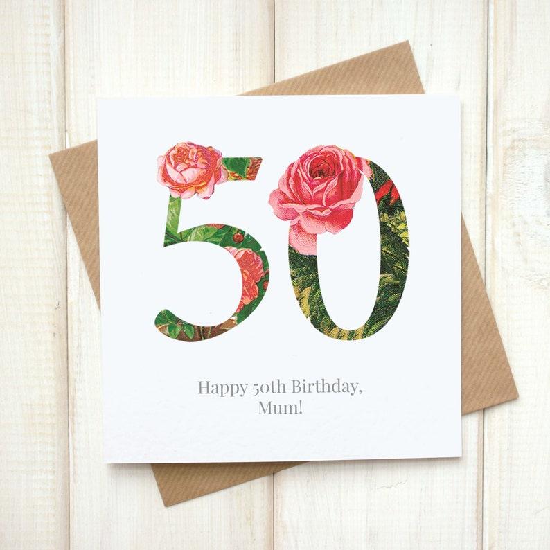 50th Birthday Card Birthday Card For Her Floral Birthday