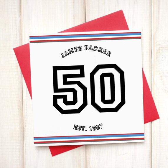 Karte 50 Geburtstag.50 Geburtstag Alter Karte Personalisierte Karte Sport Karte Papa Geburtstagskarte Bruder Geburtstag Geburtstagskarte Fussball Rugby Karte