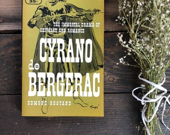 Vintage paperback classic Cyrano de Bergerac by Edmond Rostand, romance, drama, literature, Bantam
