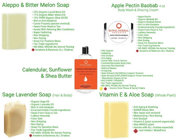 Ultimate Soap Bundle |Calendula Sunflower Shea Lotion| Sage Lavender| Apple Pectin Body Wash & Shaving Cream| Aleppo Bitter Melon