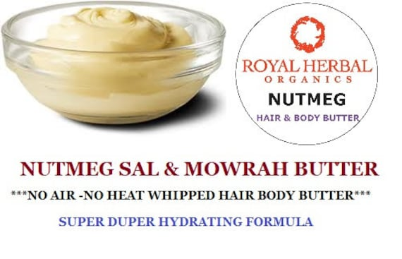 4oz NUTMEG Whipped Hair Butter | No Air- No Heat Whipped Hair Body Butter | Sal & Mowrah Butters |Extreme Hydration | Crystal Energy Infused