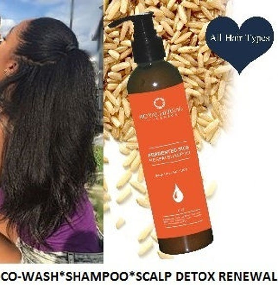 Fermented Rice Herbal Co-Wash, Shampoo & Scalp Renewal Detox 16oz, No Suds Shampoo, Organic Water Wash Shampoo, Age Defying Hair Wash