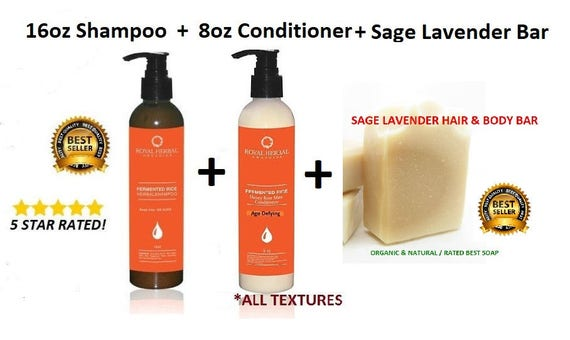 16oz Shampoo | 8ozCONDITIONER | Sage Lavender Soap | Starter Kit| Bundle Kit| Organic Hair & BodyCare, Award Winning Detox | FREE Shipping