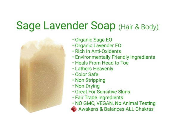 Sage & Lavender Soap    Hair and Body Soap  Anti Aging Soap  Shampoo Bar   FERMENTED Rice Soap   ORGANIC Soap   Rated BEST Soap Ever!!!