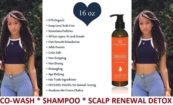 Hair Growth Solution Co-Wash* SHAMPOO * Scalp Renewal Detox 16oz, All Hair Types, Dreads, Braids, 4c, KinkyCurly, Fermented Rice Herbal Wash