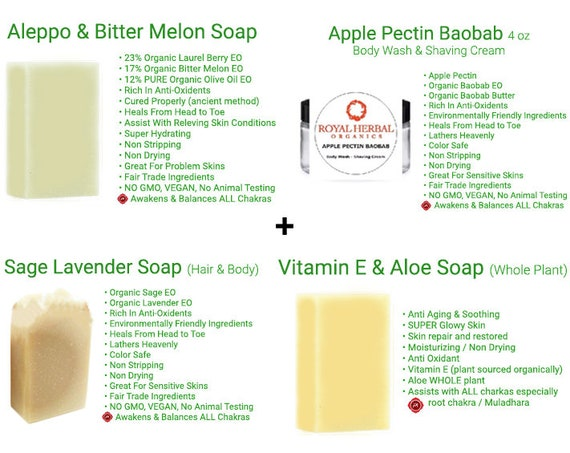 Ultimate Soap Bundle |Sage Lavender| Vit E | Apple Pectin Body Wash & Shaving Cream| Aleppo Bitter Melon | ORGANIC Soap | BEST Soaps Ever!