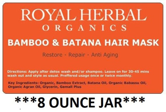Bamboo & BATANA Intense Repair Mask 8oz | Intense Organic Repair| MIRACLE Restore in a Jar |  | Revitalizing Conditioner | Deep Conditioner