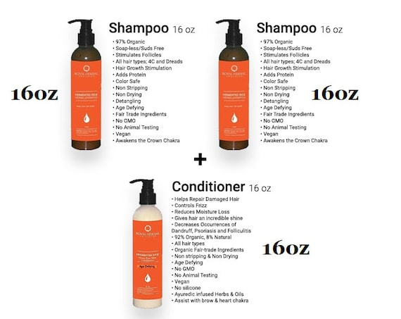 2 X's Fermented Rice Shampoo + LARGE Rose Otto Conditioner 16 oz |Organic & Natural Hair Care | Hair Growth Shampoo | Detox Shampoo