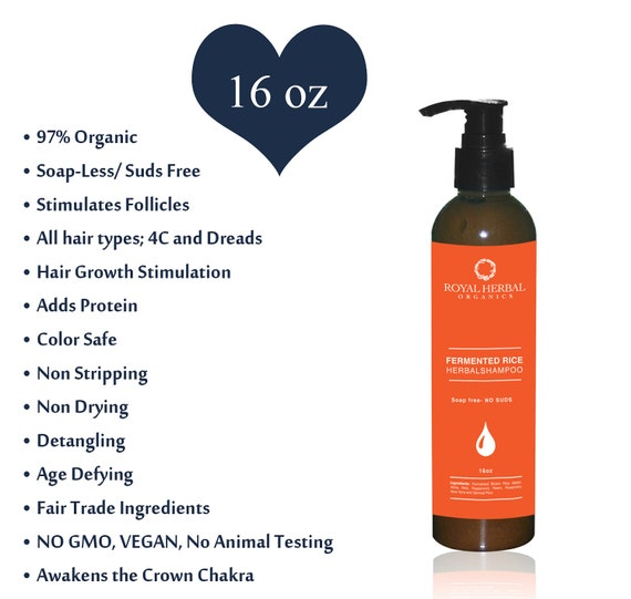Fermented Rice Herbal HAIR & SCALP DETOX, Removes Impurities,  16oz  No Suds Shampoo, Organic Water Wash Shampoo, Age Defying Hair Wash