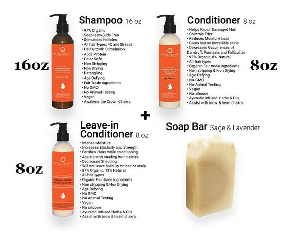 Fermented Rice Shampoo + Rose Otto Conditioner 8oz + Sage Lavender Soap + Argan Prickly Pear Leave In Conditioner  Award Winning Hair Care