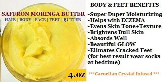 Saffron Moringa Hair Butter | SOLAR Infused Saffron| Hair Body Face Feet Butter | Anti Aging | Crystal Energy Infused | Best Organic Balm