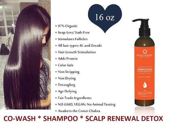 Hair Growth Solution Co-Wash* SHAMPOO * Scalp Renewal Detox 16oz, All Hair Types, Delays Grays, Grow back Edges, Fermented Rice Herbal Wash