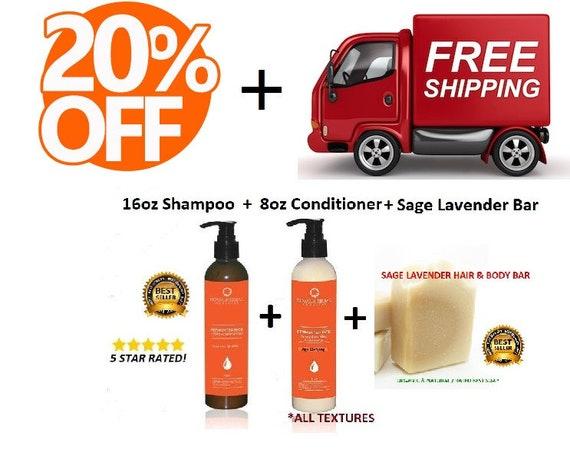 16oz Shampoo   8ozCONDITIONER   Sage Lavender Soap   Starter Kit  Bundle Kit  Organic Hair & BodyCare, Award Winning Detox  Hydrating System