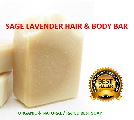 Sage & Lavender Soap  | Hair and Body Soap| Anti Aging Soap| Shampoo Bar | FERMENTED Rice Soap | ORGANIC Soap | Rated BEST Soap Ever!!!