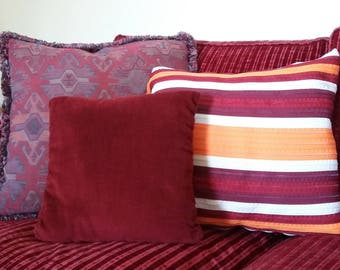 Striped cushion Orange-Bordeaux Made in Italy