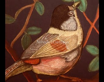 Curious Bird - Limited Edition Art Print of original artwork by NinaArtDesigns