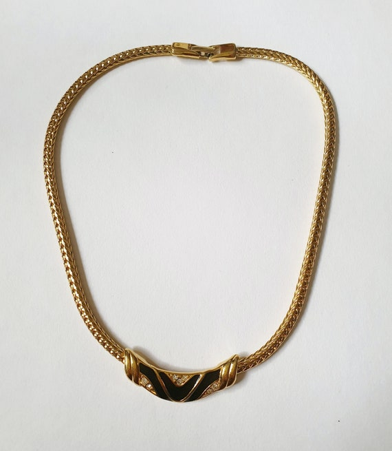 Vintage Monet Gold & Black Enamel Necklace 1980s