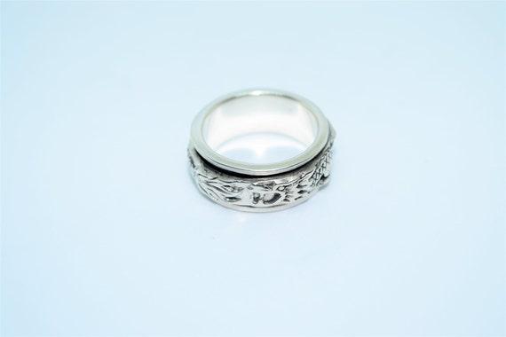 Vintage Sterling Silver Dragon Spinner Biker Ring