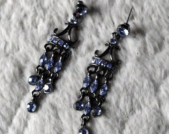 Black & Blue Chandelier Earrings!