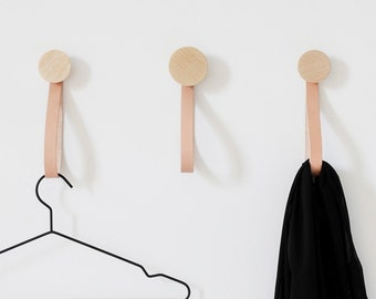 Round Light Beech Wood Coat Wall Hook / Hanger With Leather Strap