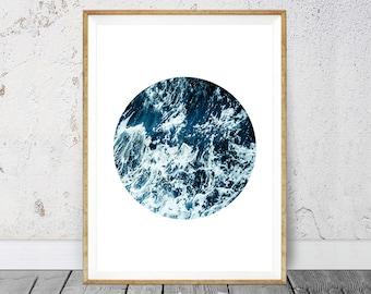 Wave Print, Circle Print, Ocean Art Print, Coastal Wall Decor, Turquoise Blue, Modern Minimalist, Digital Download, Prints