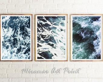 Ocean Waves Set of 3 Prints, Ocean Waves Art, Blue and White Photo, Ocean Photography, Set of 3 Wall Art, Ocean Set of 3 Posters, Modern Art