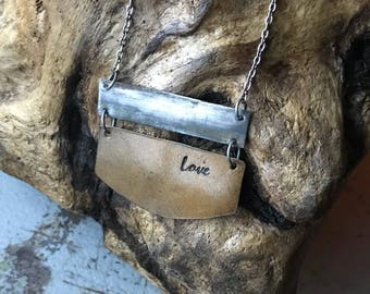 Industrial Recycled Metal Leather Stamped Love Necklace