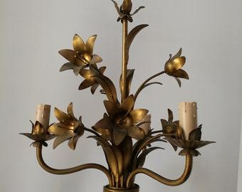 french vintage tole chandelier golden flowers pattern