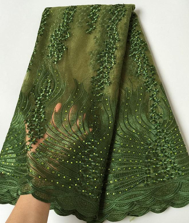 Couture Couture Couture de dentelle tulle africain unique très doux vert d'armée maille qualité tissu Français comme tellement incroyable, vous serez chaud vente 32e784