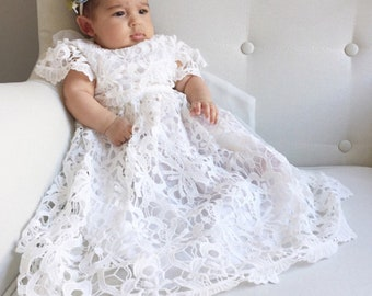 5826fc256 Stunning and Beautiful White Lace baptism dress Christening dress Baby Lace  Dress lovely Capp Sleeve long length