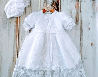 8a86c22d362b White lace Girls baby Baptism Dress Christening gown Lace