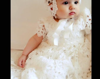 1f79a9b76 Stunning and Beautiful White Lace baptism dress Christening dress Baby Lace  Dress lovely Capp Sleeve long length