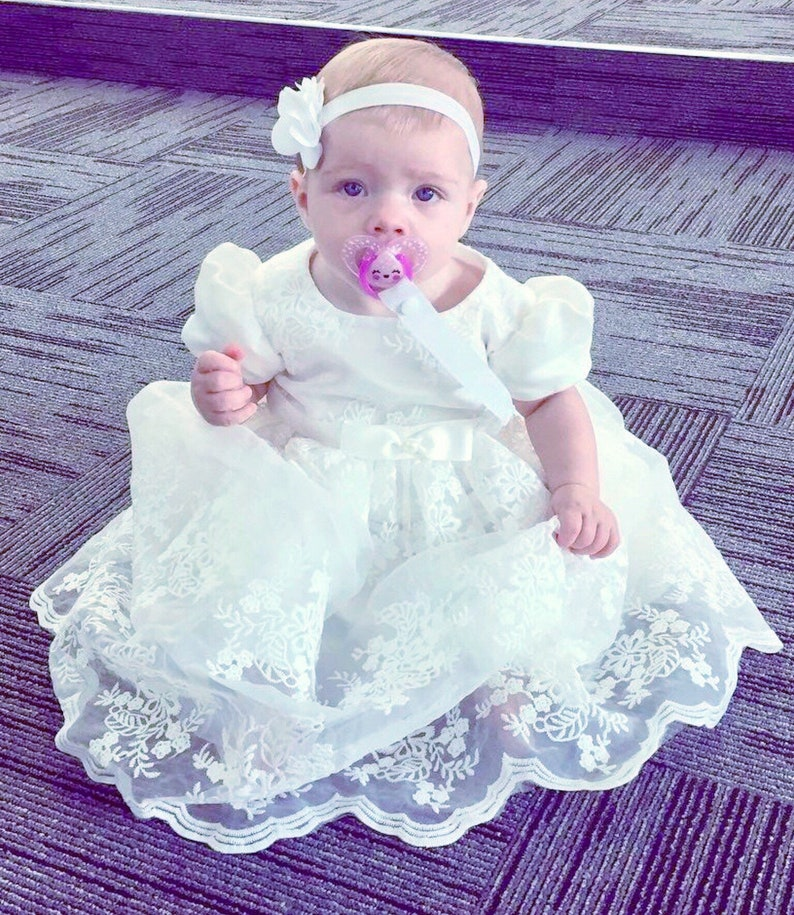 a8359f5356954 Beautiful Soft White Ivory Lace Baby Baptism Dress Christening Gown Baby  Girl Dress Flower Girl Dress with Capp sleeve