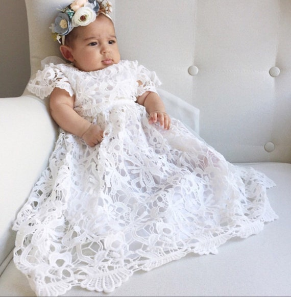 a009efd03 Stunning and Beautiful White Lace baptism dress Christening