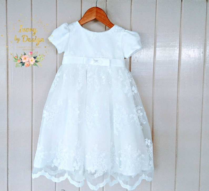 d8a3f67eb7e09 Beautiful soft White Ivory Lace Baby Baptism Dress Christening Gown Baby  Girl Dress Flower Girls Dress with Capp sleeve