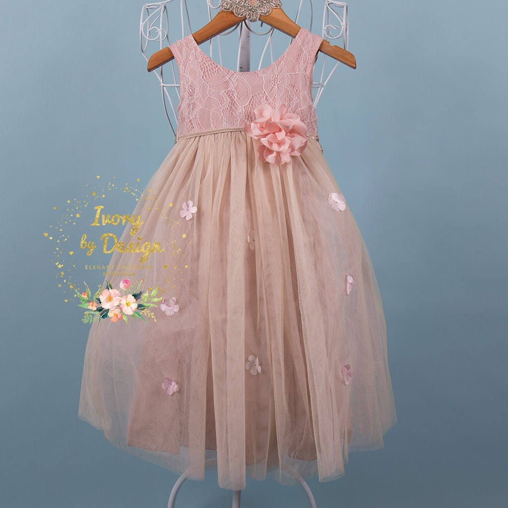Grey Pink And Blush Comforters For 12 Year Old Girls: Blush Pink Flower Girl Dress Girl Party Dress Tulle Long
