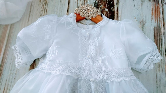 long Design White lace Vintage Style Dress Modern Lace Sleeves Christening Dress Baptism with qanHFwB