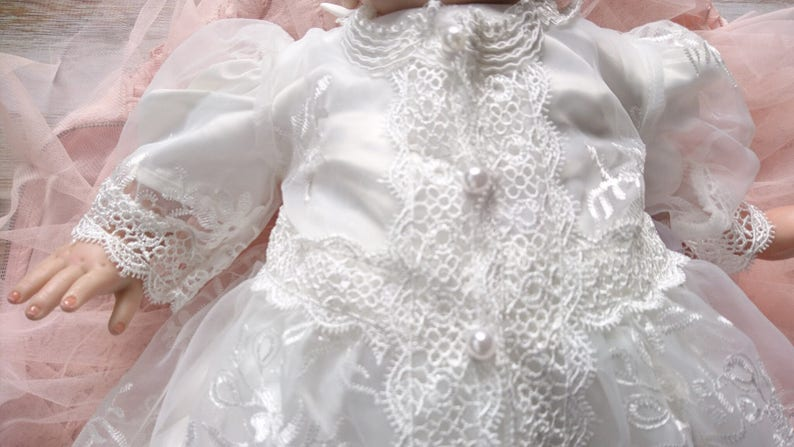 Vintage Style Modern White Lace Baptism Dress Christening Dress long lace Design with Sleeves