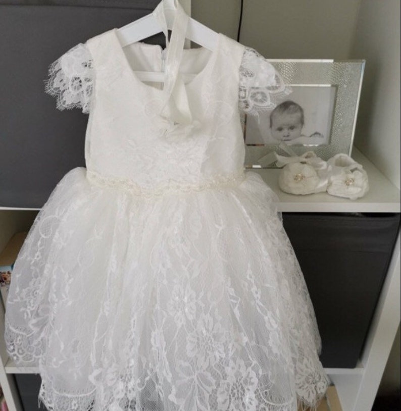 3bc4a15260d45 Baby Girls Beautiful soft white Ivory Lace Baptism Dress Christening Dress  Girls flower girl dress with elegant lace capp sleeve
