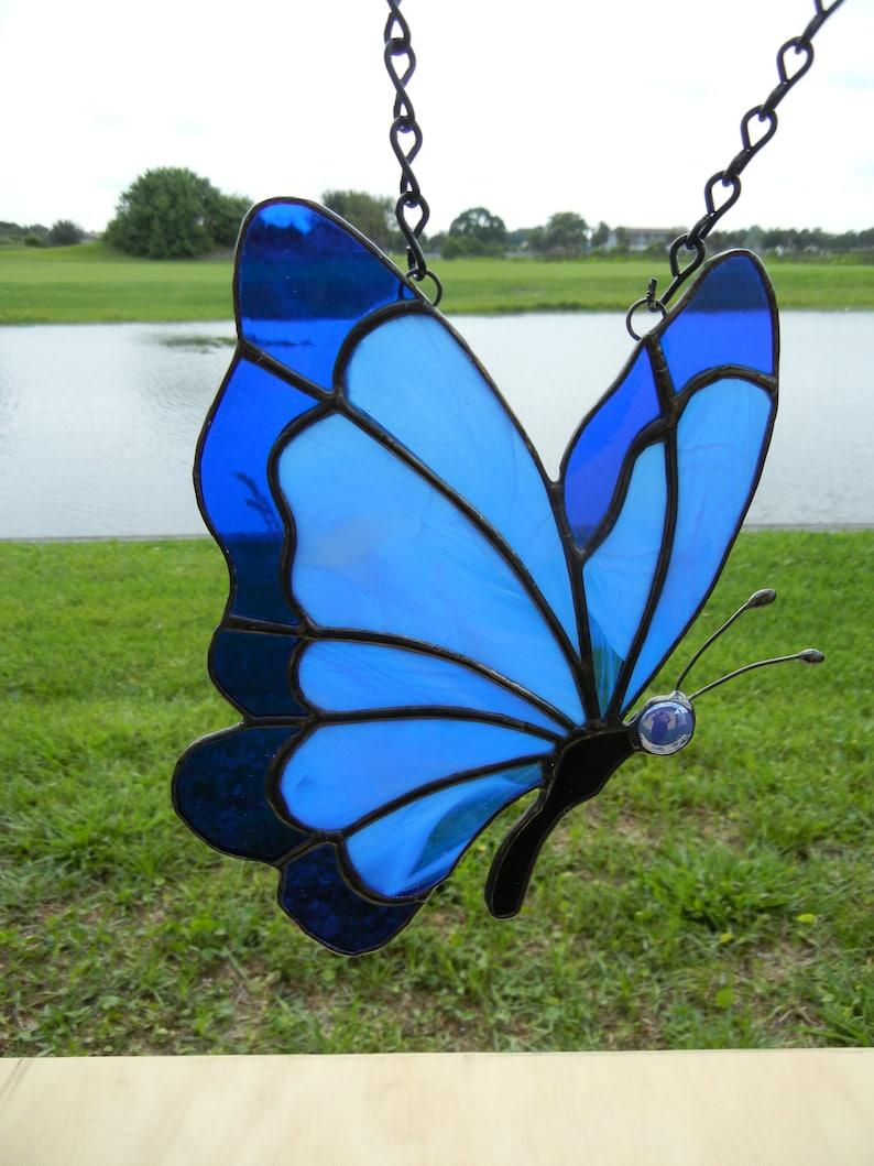 Window Decor Monarch Home Decor Rainforest Handmade Original Glass Art Sun Catcher Peaceful Stained Glass Blue Butterfly Zen