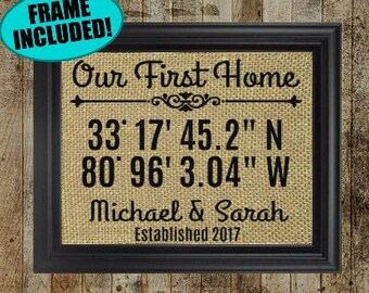 Our First Home Gift - Personalized Burlap Sign With Coordinates - First Home Gift - First Home Decor - Housewarming Gift - Coordinates Gift