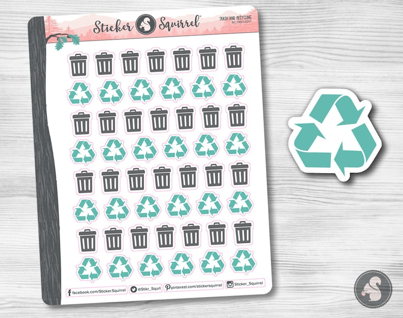 Trash & Recycling Planner Stickers  erin condren monthly image 0