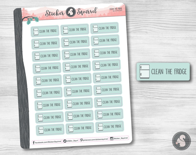 Refrigerator Cleaning Planner Stickers  erin condren monthly image 0