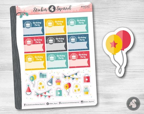 Birthday Party Reminder Planner Stickers Erin Condren Etsy