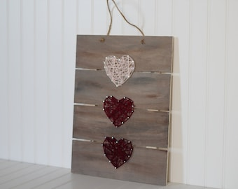 Heart strings, wooden sign with heart shaped string art
