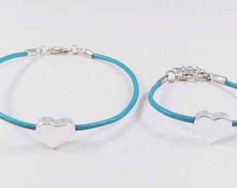 Single Mommy and Me Heart Bracelet- Teal