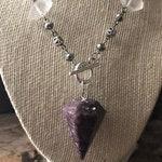 Lepidolite + Quartz Pendulum Necklace